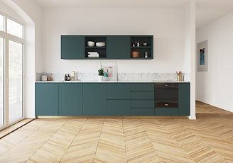 PLUM KITCHEN-BLEU PAON & PLINTHES LAITON