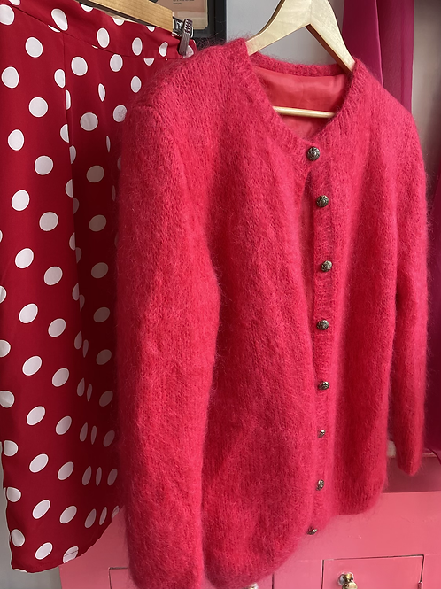 Raspberry Mohair Lined Cardigan size 8-12