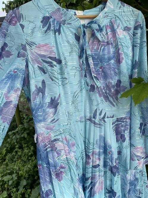 Blue Pleat Floral Dress Size 10/12