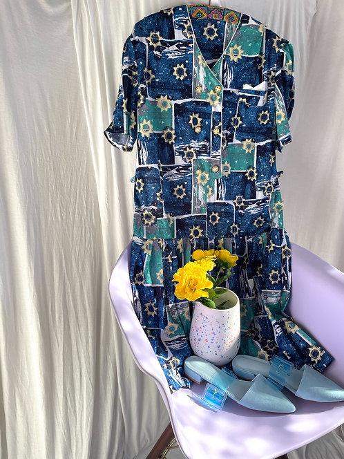 80s Drop Waist Starry Night Dress Size 12/14