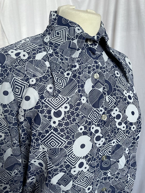 Navy & White 70s Shirt Size 12