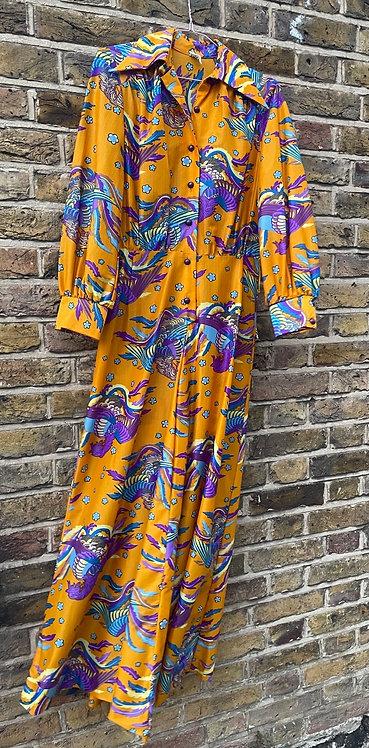 1970s Dragon Dagger Collar Maxi Dress Size 8