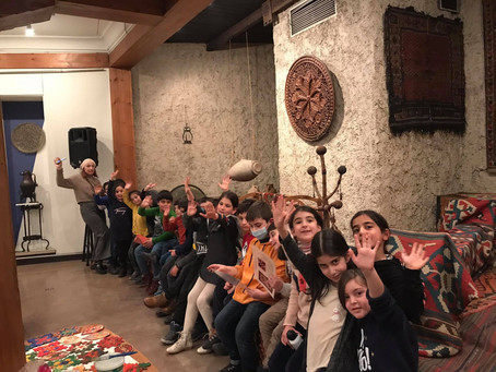 The students of Mkhitar Sebastatsi Educational Complex at the Museum of Folk Arts