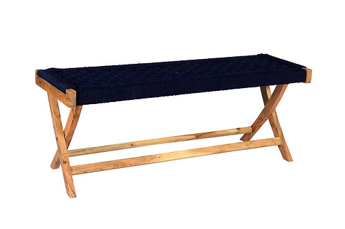 Folding Table weaved in Recycled  Navy Cotton Rope