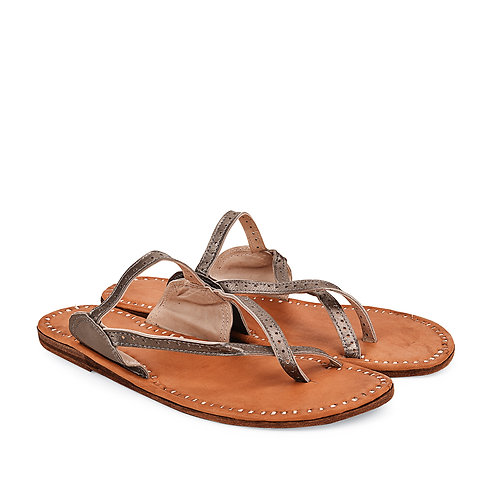 Cross Toe Metallic Leather Sandals