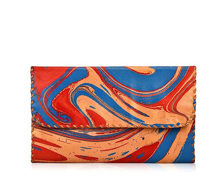 Marbled Leather Folding Wallet
