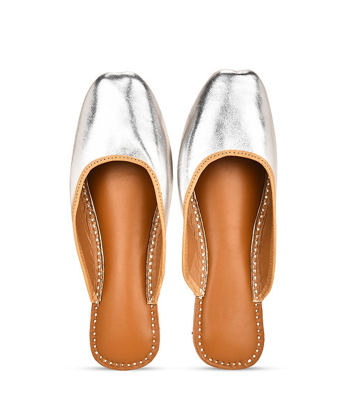 Metallic Leather Sliders in Gold and Silver
