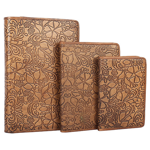 Rope Edged Leather Embossed Journal Set Of Three