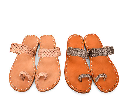 Woven Strap Leather Sandals