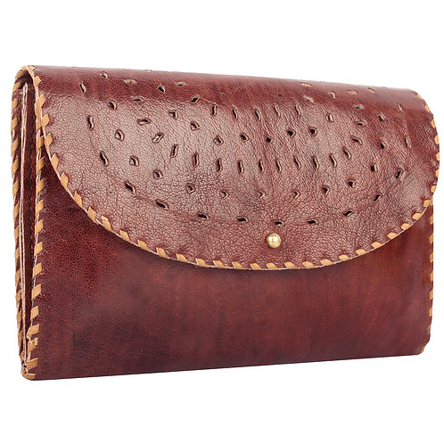 Punch Leather Envelope Clutch