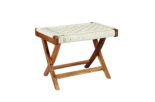 Folding Table weaved in Recycled White Plastic