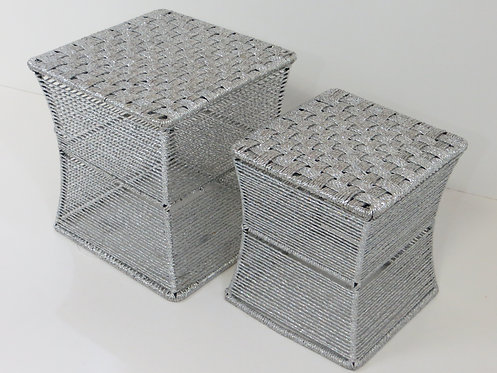 Woven Z Stool Set of 2 Silver Plastic