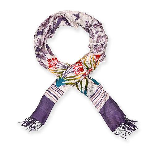 Hand Dyed Batik Silk Scarf