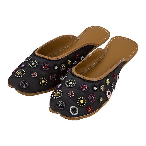 Multi Bead Embroidered  Black Sliders