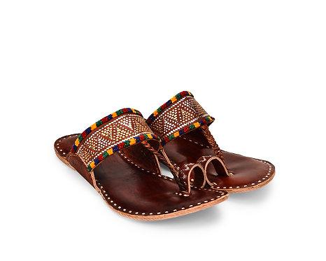 Zari Embroidery Kohlapuri Leather Sandals