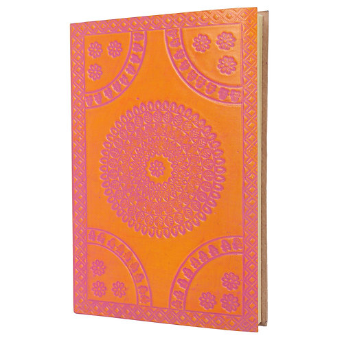 Two Tone Rongoli design embossed leather Journal