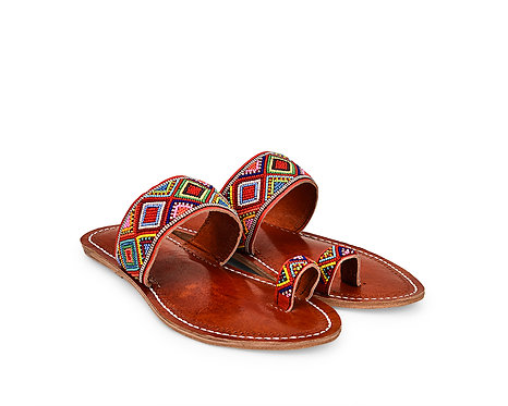 Beaded Band Sandals leather Slippers