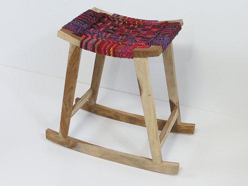 Wooden Rocking Stool Multi Cotton