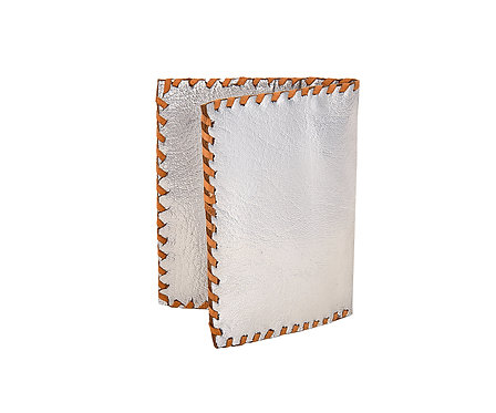 Metallic Leather Folding Card Holder