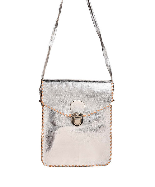 Metallic Leather Cross Body Bag