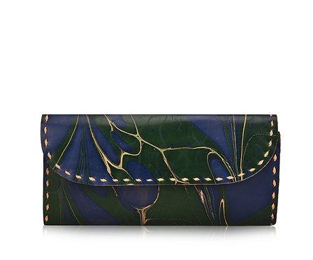 Marbled Leather Pocket Wallet
