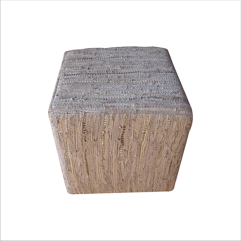 Leather Cube Side Table White silver