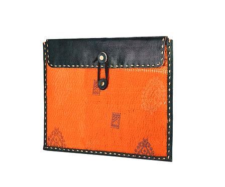 Leather & Assorted Kantha IPad Case