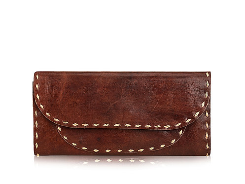 Plain leather Pocket wallet with Metallic edging