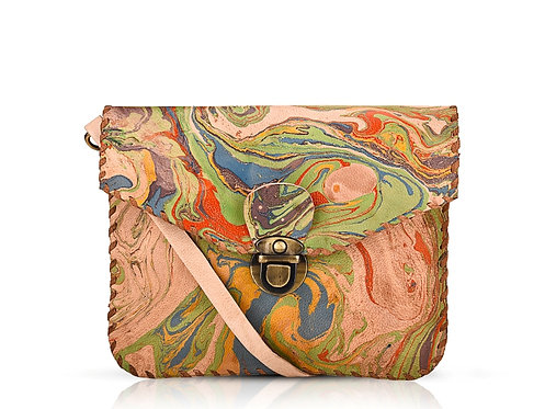 Marbled Leather Cross body Bag