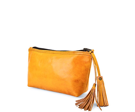 Leather Plain Pouch With Tassel
