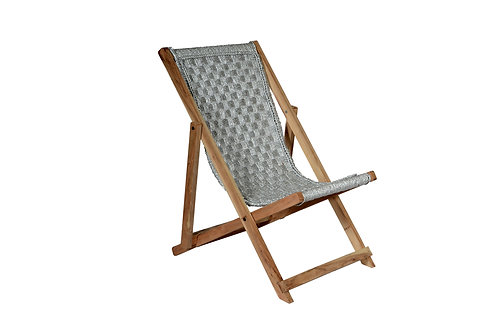 Single Deck Chair Weaved In Silver Plastic