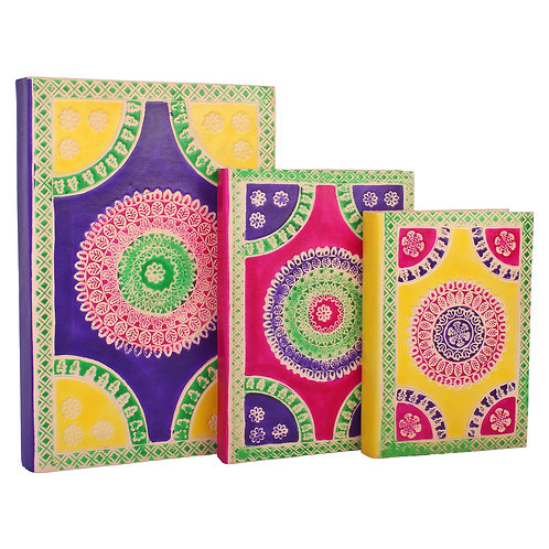 Multi Clr Rangoli Design Embossed assorted Leather Journal