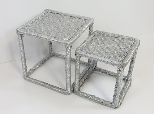 Woven Cube Stool Set of 2 Silver Plastic