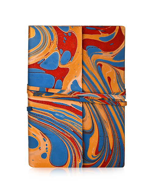 Wrap Around Marbled Leather Journal
