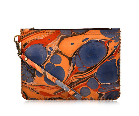 Marbled Leather Wristlet Pouch