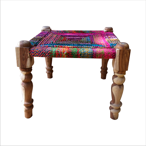 Wooden High Stool Multi Cotton