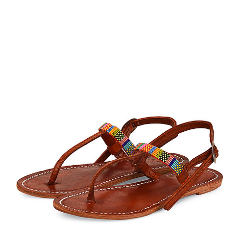 Beaded Backstrap  Leather Sandals