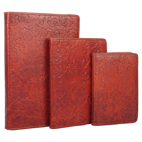 Leather Embossed Journal Set of Three