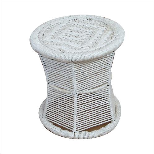 Woven Damru Stool White Plastic