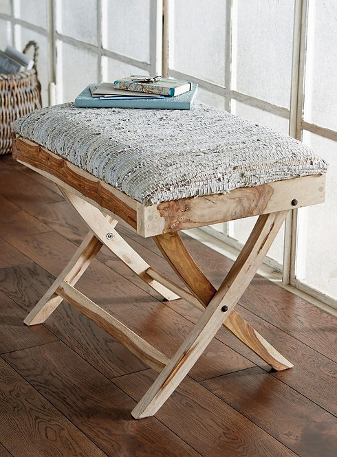 Wooden Folding Table White Silver Leather