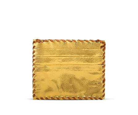 Metallic Leather Card Holder Double Sided