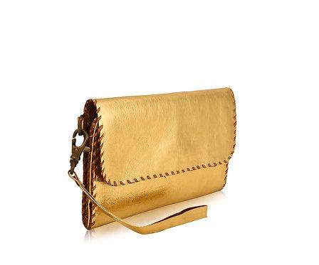 Metallic Leather Wristlet Wallet