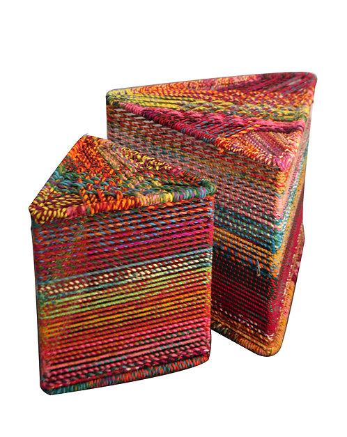 Woven Triangle Stool Multi Cotton Set of 2