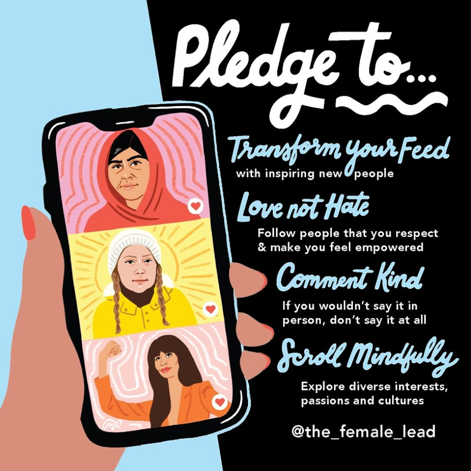 #DisruptYourFeed promotional poster by the women-focused non-profit The Female Lead encouraging young women to act more mindfully online and follow positive and inspirational public figures