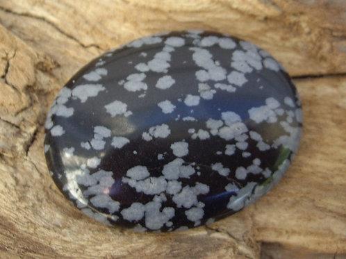 Galet chakra racine Obsidienne flocons de neige 20g