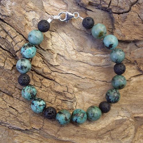 Turquoise africaine – Pierre de lave 8 et 10 mm