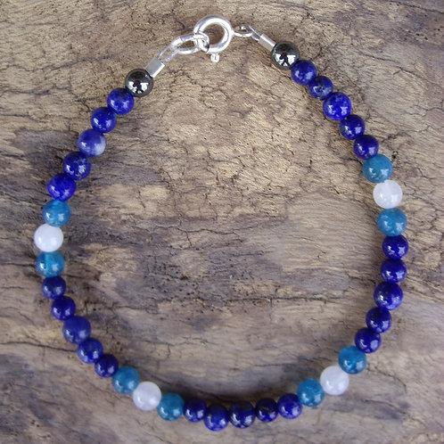 Lapis-lazuli – Apatite – Jade blanc 4 mm