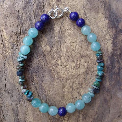 Amazonite – Chrysocolle – Lapis-lazuli 6 mm