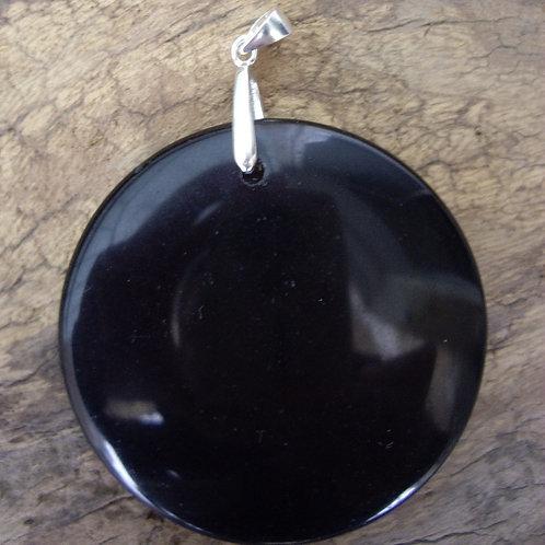 Obsidienne noire rond plat