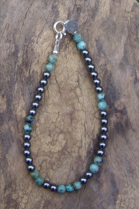 Hématite - Turquoise africaine 4 mm